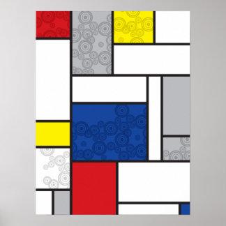 Mondrian Minimalist De Stijl Art Retro Circles Poster