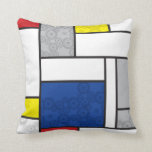 Mondrian Minimalist De Stijl Art Retro Circles Throw Pillow