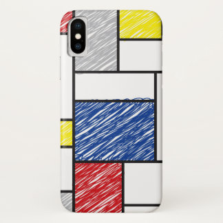 Mondrian Minimalist De Stijl Art Scribbles iPhone iPhone X Case