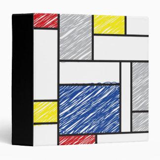 Mondrian Minimalist De Stijl Art Scribbles Sketch Vinyl Binder