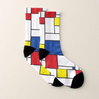 Mondrian Minimalist De Stijl Colorful Modern Art Socks