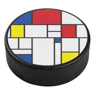 Mondrian Minimalist De Stijl Modern Art Custom Hockey Puck