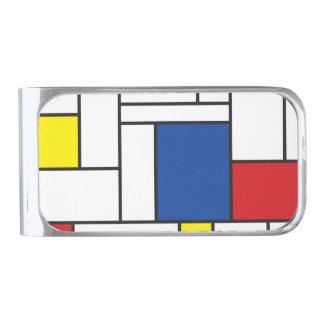 Mondrian Minimalist De Stijl Modern Art Custom Silver Finish Money Clip