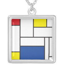 Mondrian Minimalist De Stijl Modern Art Custom Silver Plated Necklace