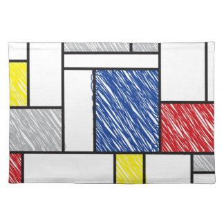 Mondrian Minimalist De Stijl Modern Art Scribbles Cloth Place Mat