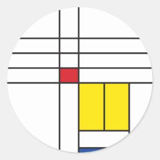 Mondrian Minimalist De Stijl Modern Art Simple Classic Round Sticker