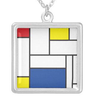 Mondrian Minimalist De Stijl Modern Art Simple Square Pendant Necklace