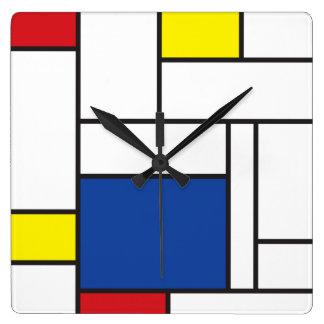 Mondrian Minimalist De Stijl Modern Art  Wall Cloc Square Wallclock