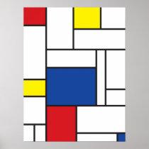 Mondrian Minimalist De Stijl Wall Art Poster Print