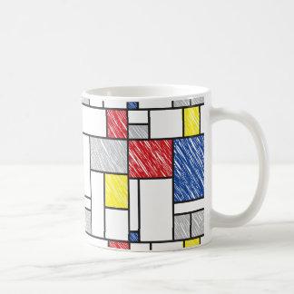 Mondrian Minimalist Scribbles Modern Art Mug