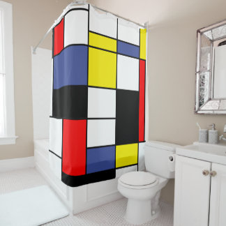 Blue Red Black Yellow Shower Curtains | Zazzle