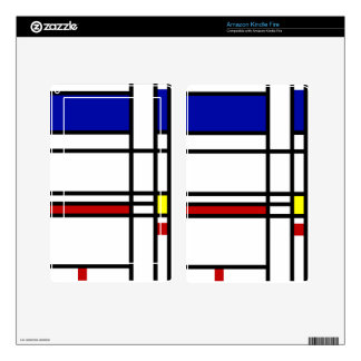 Mondrian Modern Art Decal For Kindle Fire