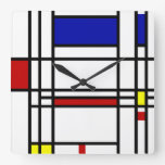 Mondrian Modern Art Square Wall Clock