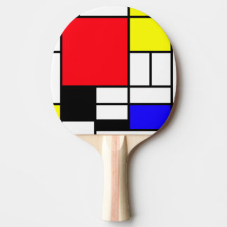 Mondrian Ping Pong Paddle, Red Rubber Back Ping-Pong Paddle