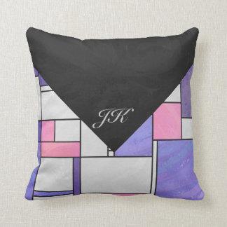Mondrian Pink Purple White Print Pillows