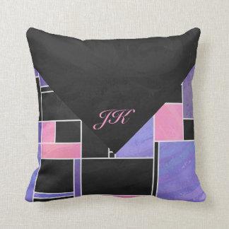 Mondrian Purple Pink Black Print Throw Pillows