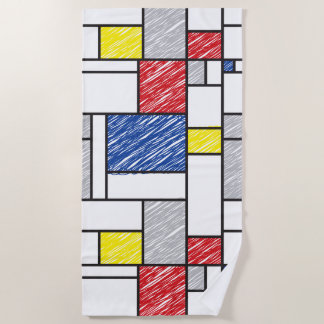 Mondrian Scribbles Minimalist De Stijl Modern Art Beach Towel
