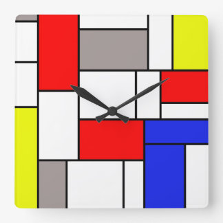 Mondrian style square wallclocks