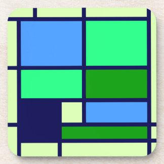 Mondrian style design blue green coaster