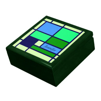 Mondrian style design blue green keepsake box