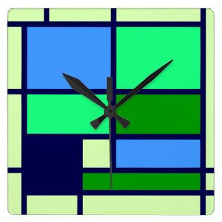 Mondrian style design blue green square wall clock