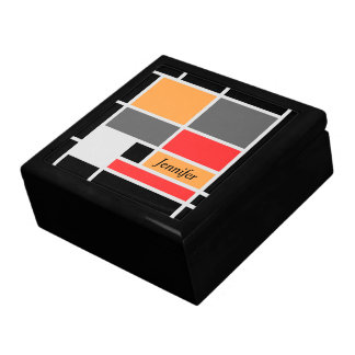 Mondrian style design orange red black gray jewelry box
