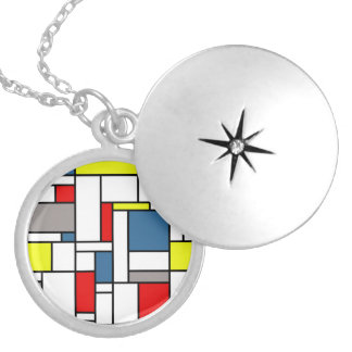 Mondrian style design silver plated necklace