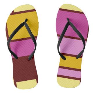 Mondrian style design yellow fuchsia flip flops
