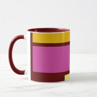 Mondrian style design yellow fuchsia mug