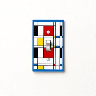 Mondrian Style Neo-Plasticism Art Blue Border Light Switch Cover
