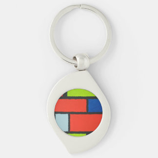 Mondrian Style Orange Green Blue Fuzzy Abstract Keychain