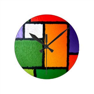Mondrian Style Orange Green Blue Fuzzy Abstract Round Clock