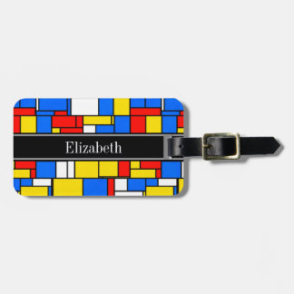 Mondrian Style Red Blue Yellow Black Name Monogram Luggage Tag