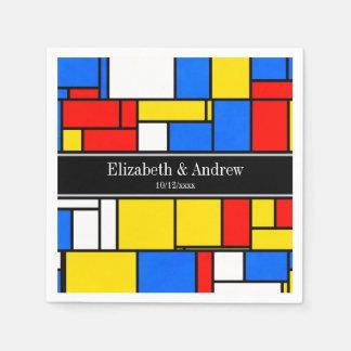 Mondrian Style Red Blue Yellow Black Name Monogram Paper Napkin