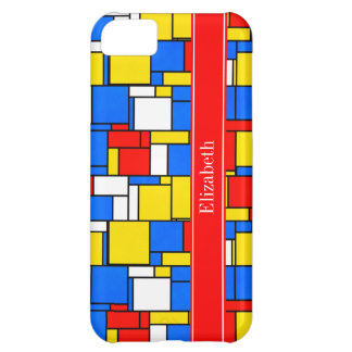Mondrian Style Red Blue Yellow Red Name Monogram Cover For iPhone 5C