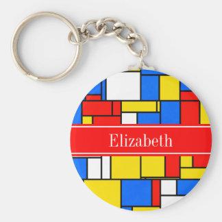 Mondrian Style Red Blue Yellow Red Name Monogram Keychain