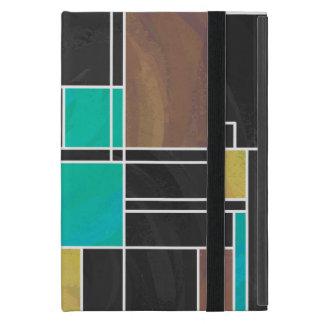 Mondrian Teal Brown Black Print Cover For iPad Mini
