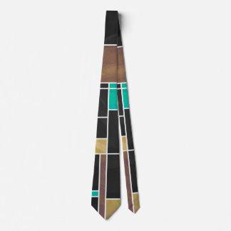 Mondrian Teal Brown Black Print Neck Tie