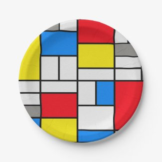 Mondrian Theme Elegant Plate 7 Inch Paper Plate