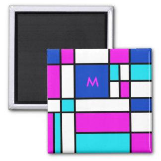 Mondrian Violet Purple Blue Magnet
