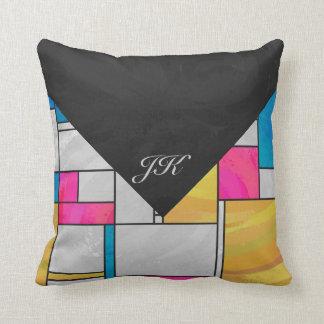 Mondrian Yellow Pink Blue Print Throw Pillow
