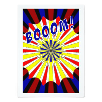 Mondrian's explosion fireworks Pop Art 4.5x6.25 Paper Invitation Card
