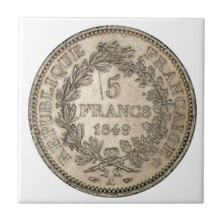 MONEDA 1849 DE 5 FRANCOS AZULEJO CUADRADO PEQUEÑO