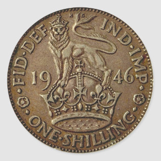 Moneda 1 pegatina redonda