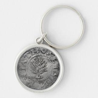 Moneda americana temprana rara llavero redondo plateado
