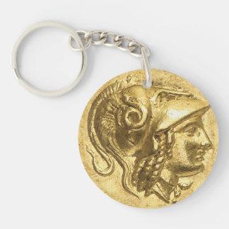 Moneda antigua de Athena Llavero Redondo Acrílico A Doble Cara