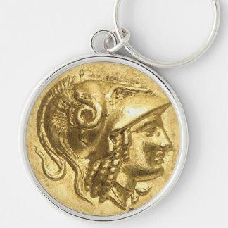 Moneda antigua de Athena Llavero Redondo Plateado