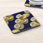 Moneda Bitcoin - Posavasos cuadrado M5