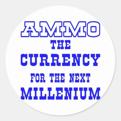 Moneda blanca de la munición el milenio próximo pegatina redonda