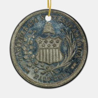 moneda confederada de la guerra civil de 1861 50C Adorno Navideño Redondo De Cerámica